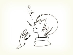 オリーブオイルのテイスティング説明イラスト。オリーブオイルの香りと味わいを感じる