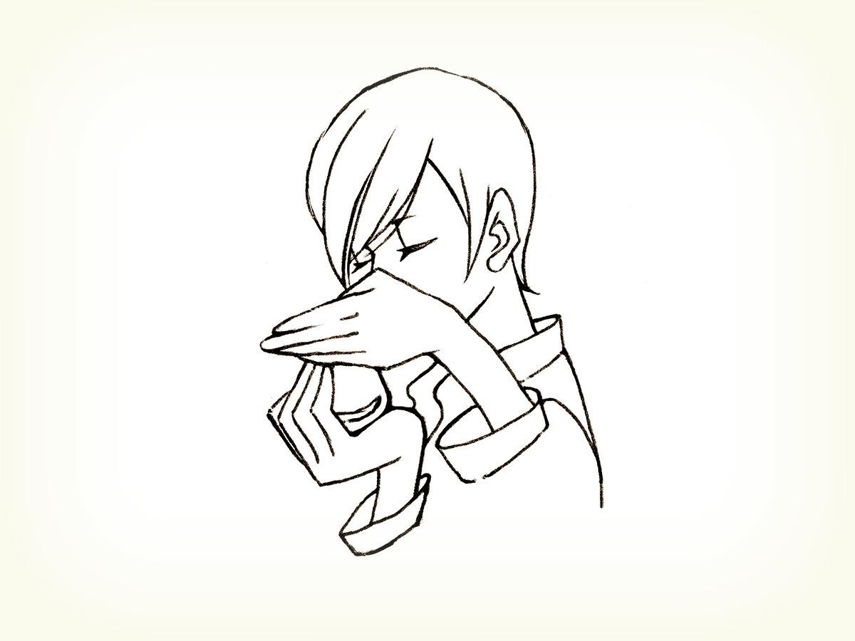 オリーブオイルのテイスティング説明イラスト。鼻の近くで、そっと手のふたを開けて、香りを嗅ぐ