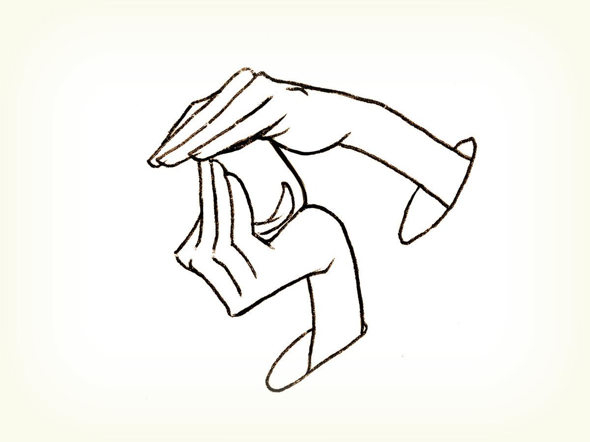 オリーブオイルのテイスティング説明イラスト。カップの底を持ち、もう片方の手でカップを上からぴったりふさぎオリーブオイルをあたためる