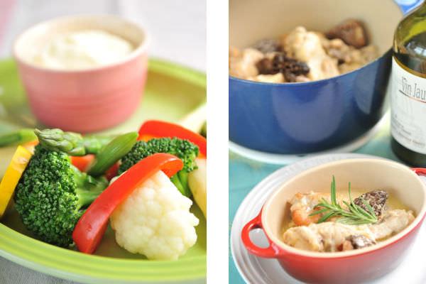 アリゴソース 蒸し野菜添え、若鶏のヴァン・ジョーヌ煮込みの画像