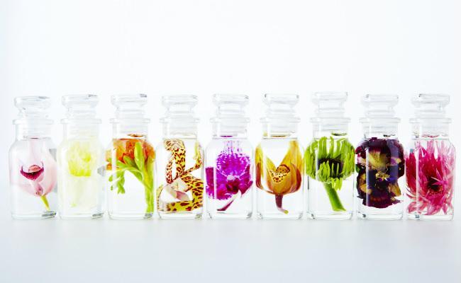 フラワーショップ「フラワーオブロマンス」の水中花のようにボトルの中に花が閉じ込められている商品画像