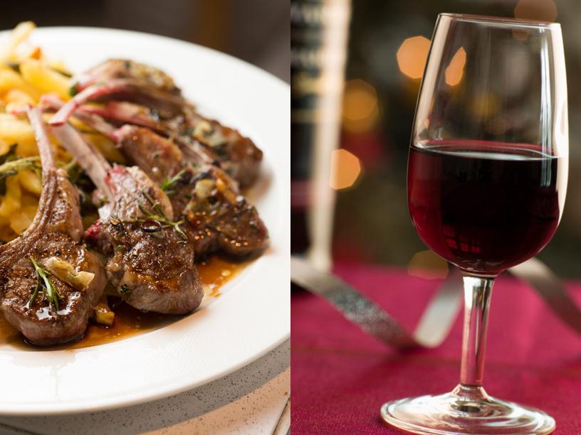 ラムのソテーと赤ワイン