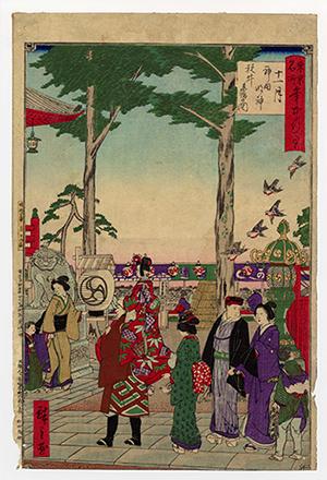 歌川広重の浮世絵に描かれた、千歳飴を持って神田明神にお参りをする子供たちの風景。