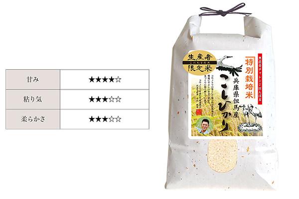 兵庫県産の米、「コウノトリ育むこしひかり」
