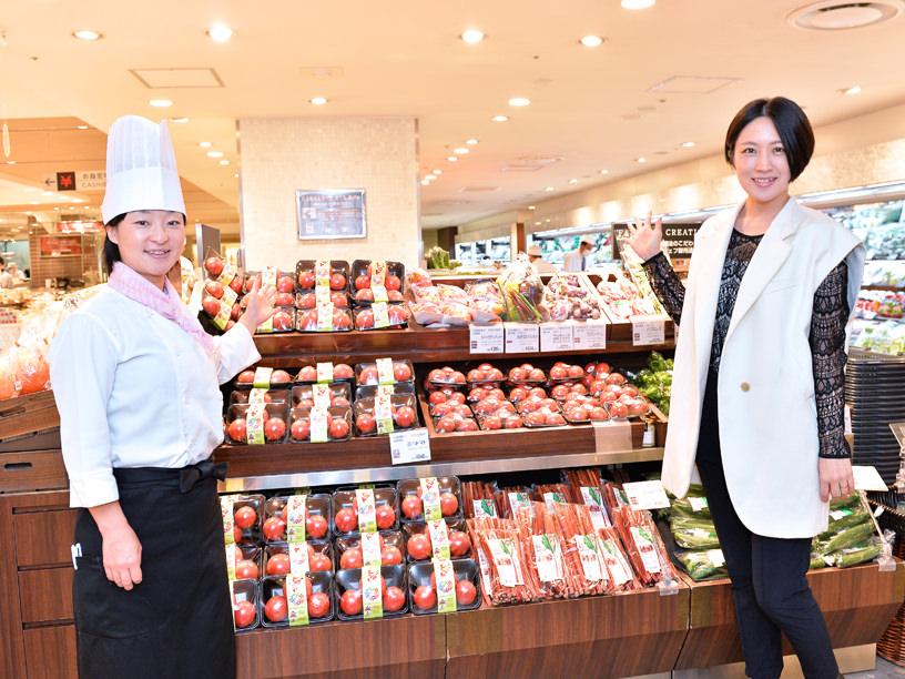 伊勢丹新宿店地下1階のフレッシュマーケット青果コーナー。