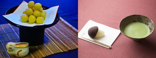 左:月見団子のイメージ 右:老松の月見団子
