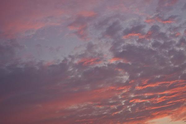 茜色に染まる秋の夕焼け