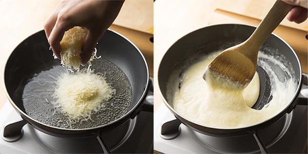 左:極上チーズフォンデュのレシピ、手づかみで少しずつチーズを入れる、右:極上チーズフォンデュのレシピ、木べらでチーズを混ぜ返す