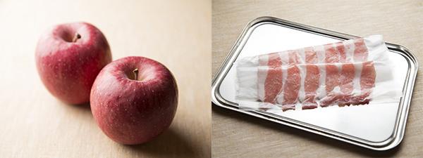 りんごの豚肉巻きソテーのレシピ、材料のりんごと豚肉