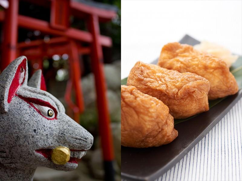 伏見稲荷の狐の像といなり寿司