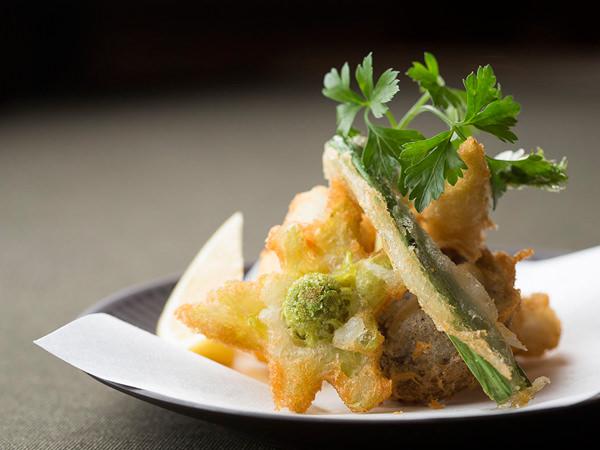 魚介と春野菜の日本酒フリット