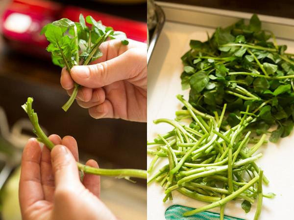ウニクレソンの作り方、クレソンの茎と葉を分ける