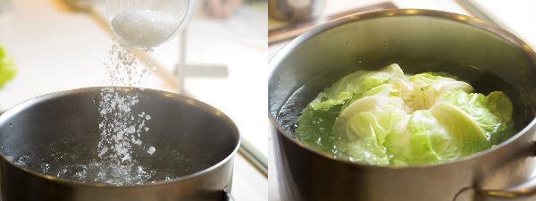 キャベツは塩分2%の湯で丸ごとゆでて、甘みを引き出す