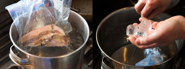 豚ロース肉を湯せんする