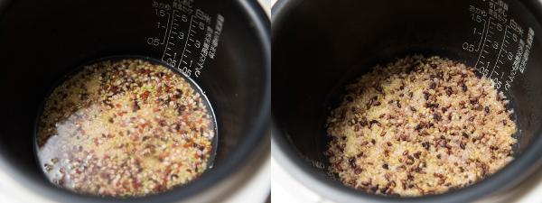雑穀米を30分つけ置いている様子