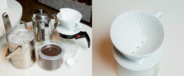 コーヒーサーバー、ドリッパー、ペーパー、コーヒー豆(中細挽き)、氷、細口ポット