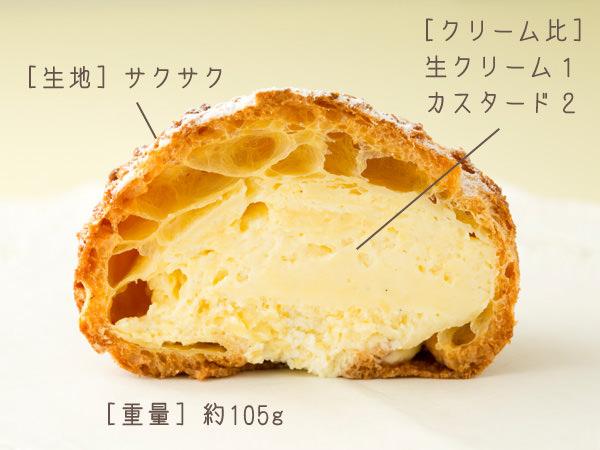 シェ・シーマのシュークリームの断面図