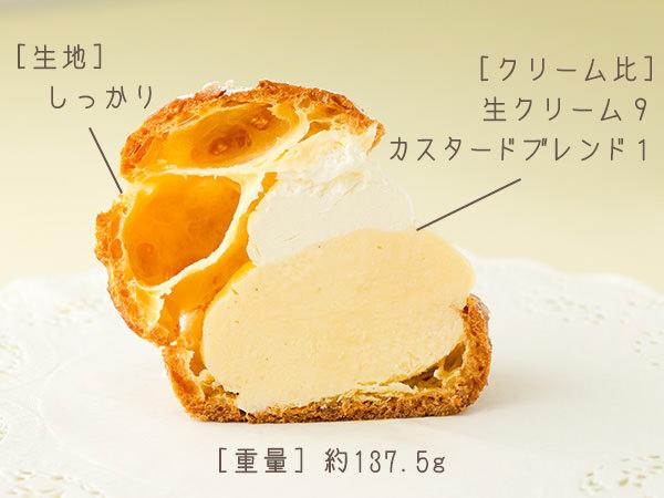 ノワ・ドゥ・ブールのシュークリームの断面図