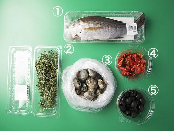 アクアパッツァの材料タイム、いさき、あさり、ドライトマト、ブラックオリーブ