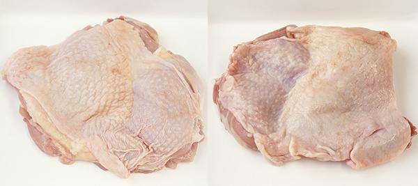 新鮮な鶏肉と鮮度が落ちた鶏肉
