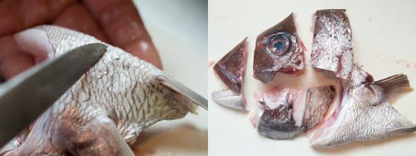 魚のアラの下ごしらえ