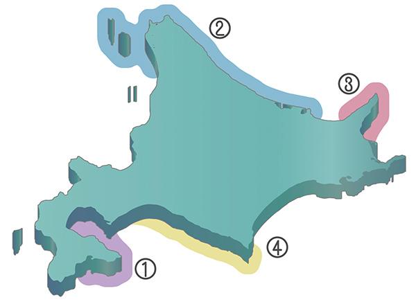 昆布の産地の地図
