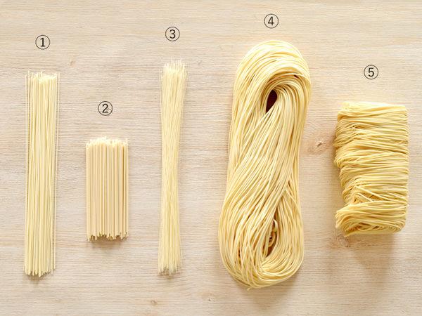 ゆでる前の5種類の素麺