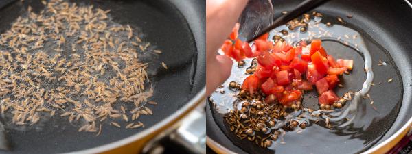 (左)サラダ油でスパイスを炒めて香りを出す(右)トマトを加える
