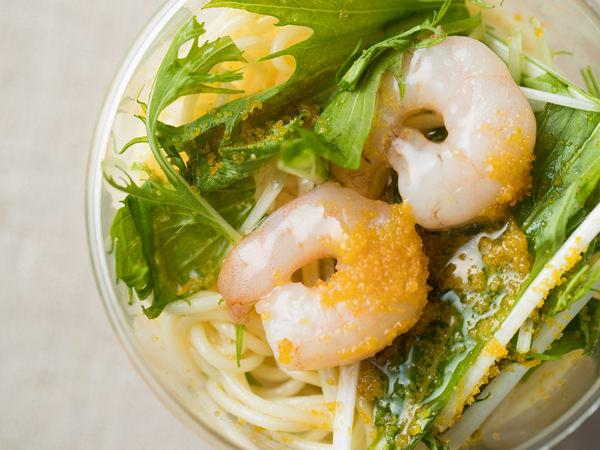 ガリバルディの冷製カッペリーニ からすみと海老と水菜