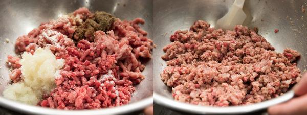 (左)材料をボウルに入れる(右)混ぜたあと