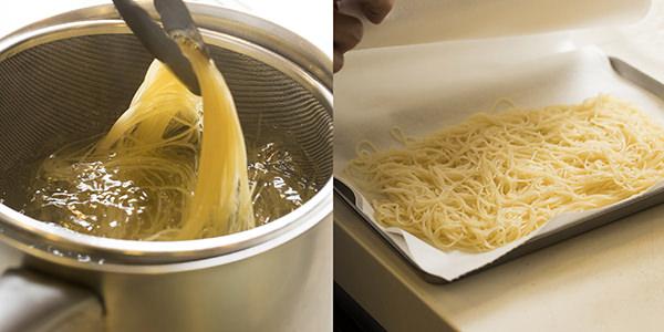 パスタを冷水で締めしっかり水分を切る