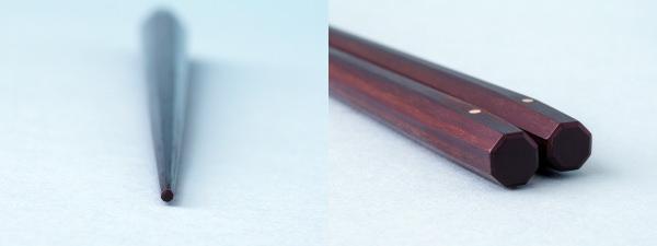 極上 十六角箸 縞黒檀 235mmの先端