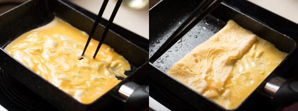 卵を流し入れ、卵を手前に折り畳む