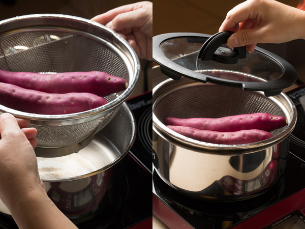 鍋にザルを重ね、さつま芋を入れてふたをする