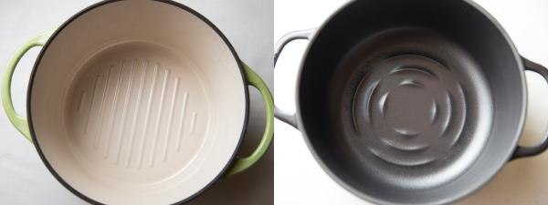 バーミキュラのライスポットの鍋底とオーブンポットラウンドの鍋底
