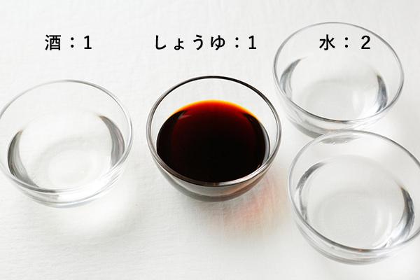 煮豚の調味料の割合は、酒1:しょうゆ1:水2