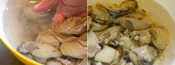 牡蠣を塩水で洗うビフォー、アフター