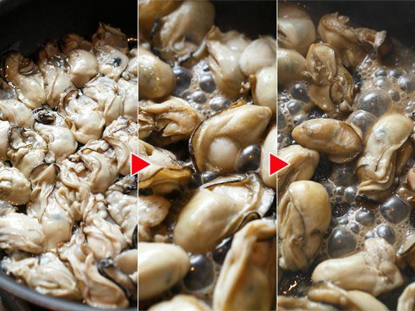 牡蠣の水分を炒めて飛ばす様子