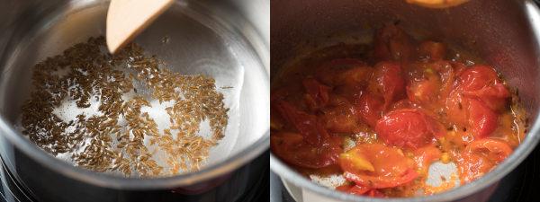 クミンを炒めて香りを出し、トマト(またはトマト缶)を加える