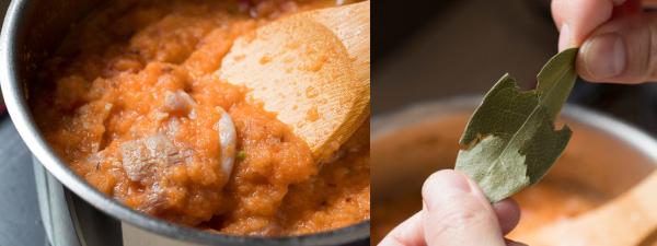 鶏肉を香味野菜ごと加える。ローリエは葉脈をちぎってから鍋に入れる