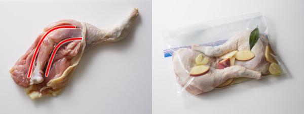 骨付き鶏もも肉に切り込みを入れて、マリネする
