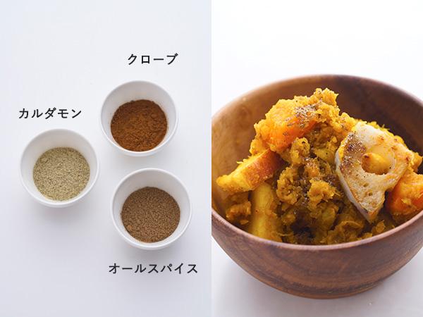オールスパイス+カルダモン+クローブ+塩を混ぜた粉ドレ「スパイシーモロッコ味」の材料、おすすめの食べ方
