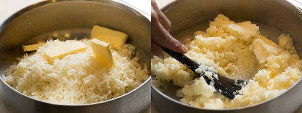 バターを溶かし、じゃがいもをつぶして混ぜる