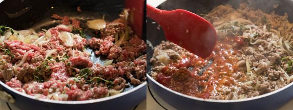玉ねぎと牛ひき肉を炒めて、白ワインとケチャップを加える