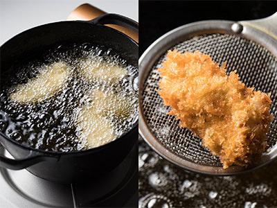 鍋の大きさに対して入れる牡蠣は半分くらいに。揚げあがりの色
