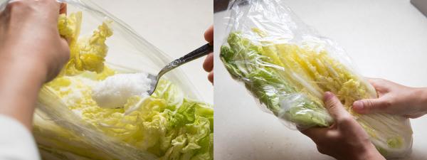 白菜に塩をふって、ビニール袋の上からもむ