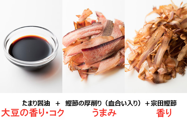 うどんつゆの素材の鰹節の厚削りと宗田鰹節とたまり醤油