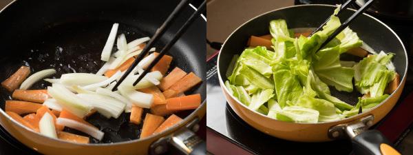 野菜を炒めているところ