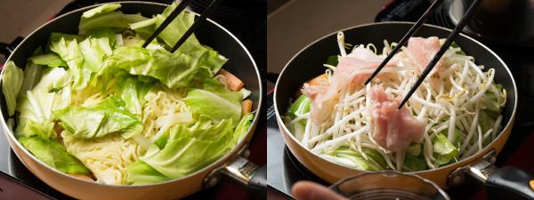 麺を炒めた野菜で挟んで蒸す