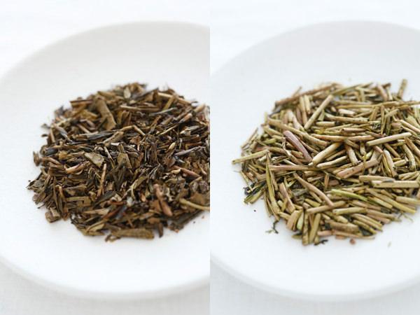 一般的なほうじ茶と献上加賀棒茶の葉(茎)